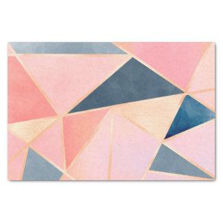 三角形のデニムの青いピンクのモモの金ゴールド 薄葉紙