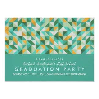 三角形のモザイク卒業パーティーの招待 カード