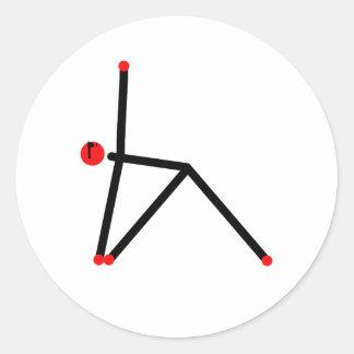 三角形のヨガの姿勢の棒の姿 ラウンドシール