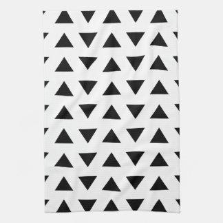 三角形の白黒幾何学的なパターン キッチンタオル