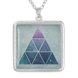 三角形の銀河系の銀によってめっきされる正方形のネックレス シルバープレートネックレス