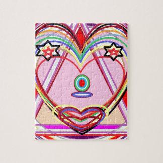 三角形-愛、キス、星の中のハート ジグソーパズル