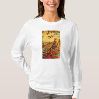 三角波が付いているヴィンテージのハロウィンのカボチャパッチ Tシャツ