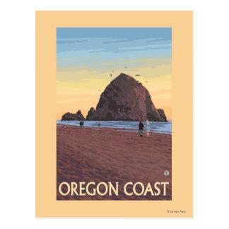 三角波の石のヴィンテージ旅行ポスター ポストカード