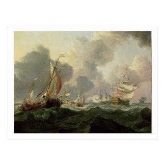 三角波の立つ海のオランダのピンクそしてイギリスのフリゲート艦 ポストカード