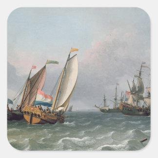 三角波の立つ海のオランダの船積み スクエアシール