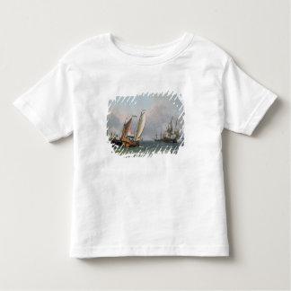 三角波の立つ海のオランダの船積み トドラーTシャツ