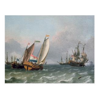 三角波の立つ海のオランダの船積み ポストカード