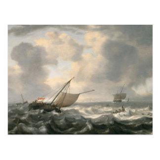 三角波の立つ海の船 ポストカード