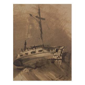 三角波の立つ海の船、1864年 ポストカード