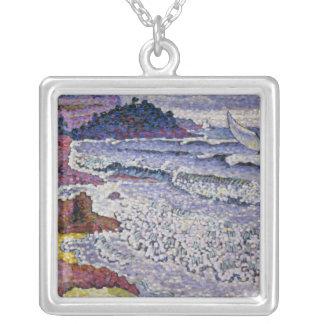 三角波の立つ海1902-3年 シルバープレートネックレス
