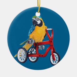 三輪車のバイクのオウムのコンゴウインコ セラミックオーナメント