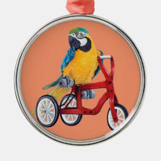 三輪車のバイクのオウムのコンゴウインコ メタルオーナメント