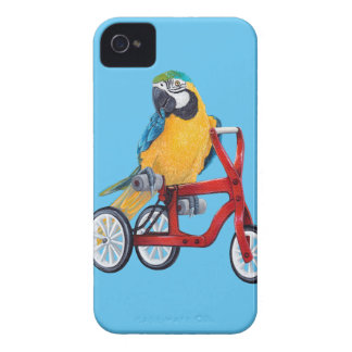 三輪車のバイクのオウムのコンゴウインコ Case-Mate iPhone 4 ケース
