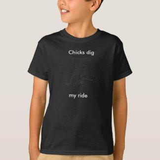 三輪車、ひよこの発掘、私の乗車 Tシャツ