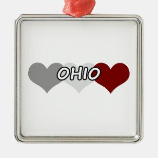 三重のハートオハイオ州 メタルオーナメント
