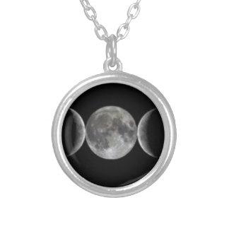 三重の女神の月のWiccaの異教徒のネックレス シルバープレートネックレス