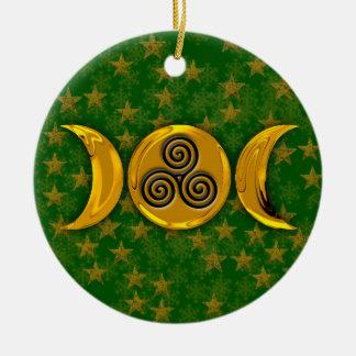 三重の螺線形の金三重の月は雪片を主演します セラミックオーナメント