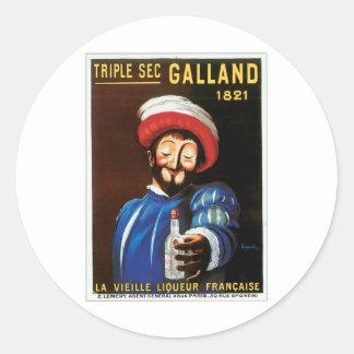 三重秒のGallandの1821年のヴィンテージの飲み物の広告の芸術 ラウンドシール