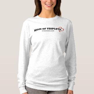 三重項の長袖のTシャツのお母さん Tシャツ