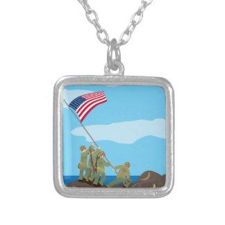 上げます硫黄島(シンプルな歴史)の旗を シルバープレートネックレス