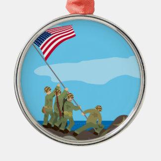 上げます硫黄島(シンプルな歴史)の旗を メタルオーナメント