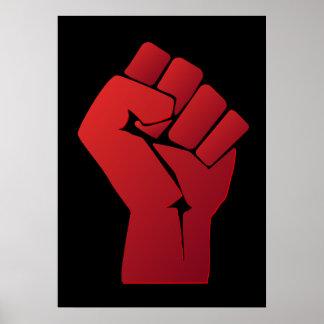 上げられた赤い勾配の握りこぶし ポスター