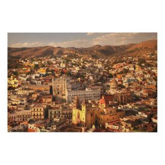 上でからの町の眺め ウッドウォールアート