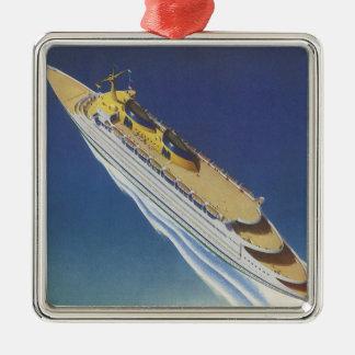 上でから見られる海のヴィンテージの遊航船 メタルオーナメント