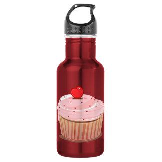 上のさくらんぼが付いているカップケーキ ウォーターボトル