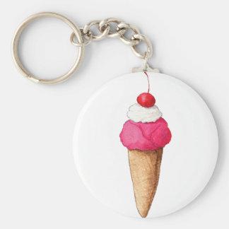 上のさくらんぼが付いているピンクのアイスクリームコーン キーホルダー
