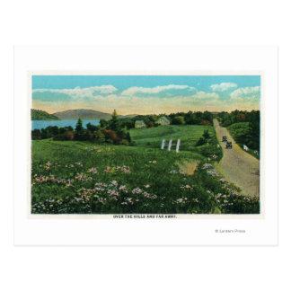 上のそしてずっと景色の国の眺め、丘 ポストカード
