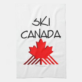 上のスキーカナダ キッチンタオル