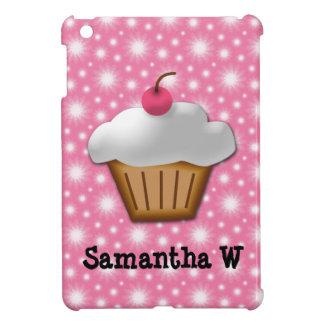 上のピンクのさくらんぼが付いている切り出しのカップケーキ iPad MINI CASE