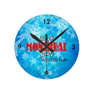 上のモントリオールの冬のおもしろい ラウンド壁時計