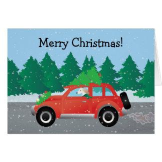 上の木が付いているクリスマス車を運転するSaluki カード