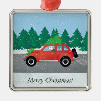 上の木が付いているクリスマス車を運転するSaluki メタルオーナメント