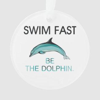 上の水泳のイルカは絶食します オーナメント