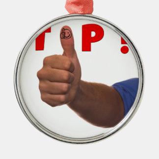 上の親指のイメージ メタルオーナメント