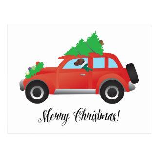 上の車クリスマスツリーを運転しているハリアー犬 ポストカード