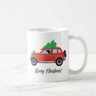 上の車木を運転しているゴードンセッター犬 コーヒーマグカップ