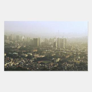 上の都市写真からのソウル 長方形シール