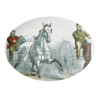 上の馬の詩歌 磁器大皿