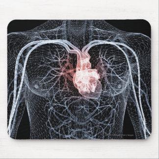 上体の血管のWireframe マウスパッド