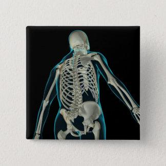 上体8の骨 5.1CM 正方形バッジ