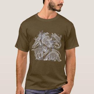 上名前を挙げられた人を引いている恐竜 Tシャツ