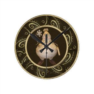 上品でお洒落なヴィンテージの雪だるまの時計 ラウンド壁時計