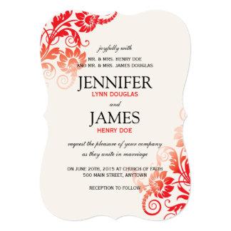 上品でグラデーションで赤い結婚式招待状 カード