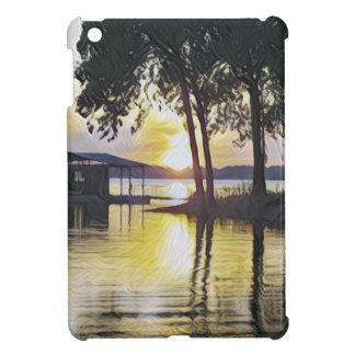 上品でモダンでコンテンポラリーな湖の日没 iPad MINIケース