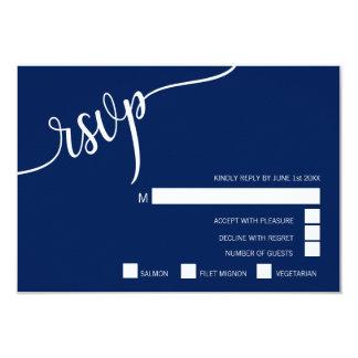 上品でモダンな濃紺及び白いRSVPメニュー結婚式 カード